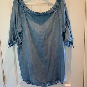 Blue jean off the shoulder blouse